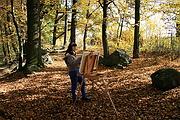 Malířka Dagmar Zemánková maluje obrazy v plenéru